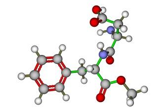 Model molekuly umělého sladidla Aspartam (E 951)